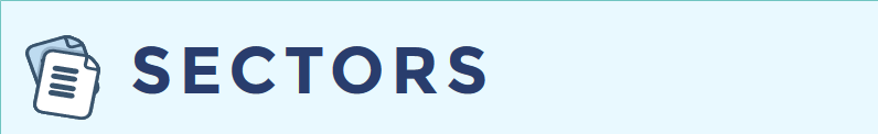light blue background with dark blue letters that say SECTORS