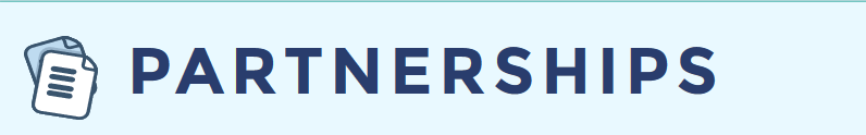 light blue background with dark blue letters that say Partnerships